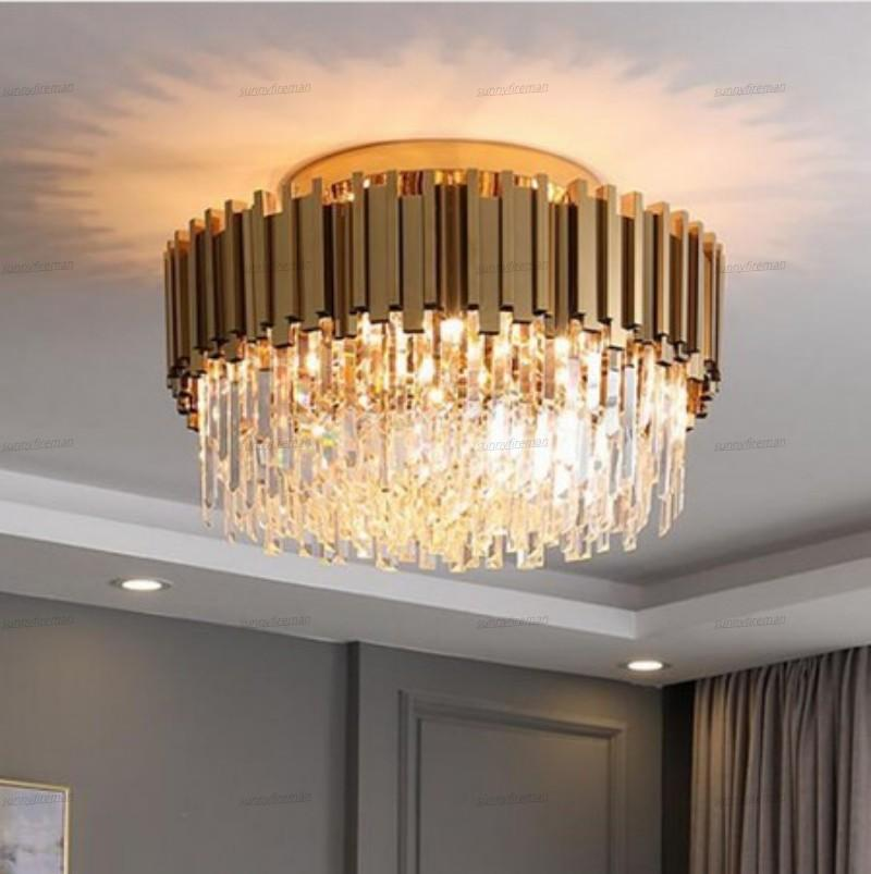 Free freight 2020 Luxury Crystal Chandelier Modern Gold Round Led Lighting Fixtures For Home Interior