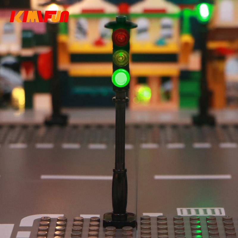 Building Blocks RGB LED Street Traffic Signal Light For Block City Series Bricks Block Set Model Educational Kids Gifts T200613
