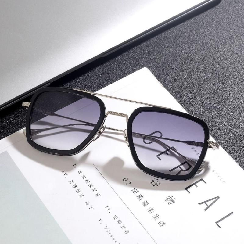 Мода Мужчины солнцезащитные очки Железный человек Изысканный мужские солнцезащитные очки Женщины Марка Дизайнер очки óculos Can Match Prescription Lens