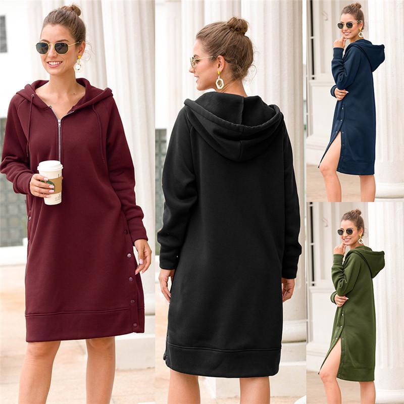 Vestidos Moda Causal Divisão de projeto de longo encapuçados vestidos mediana Casual Sólidos Designer Cor mulheres vestidos de outono Womens