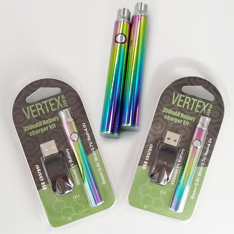 VERTEX Ön ısıtma Vape Pil Gökkuşağı 350mAh VV 510 Konu Vape Kartuşları Akü Ayarlanabilir Gerilim Vape Kalemler Yağ Arabaları Battries
