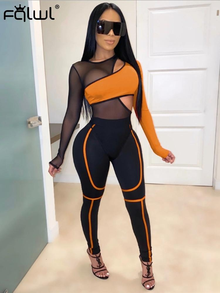 FQLWL Mesh Two Piece Set Women Suit Club Outfits Tranparent Long Sleeve Sexy Bodycon Bodysuit and Pants Female Ladies Tracksuit T200812