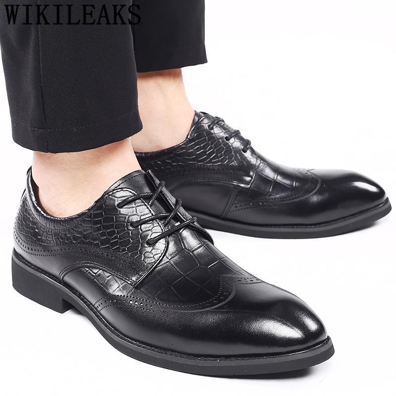 Brogues Elevador sapatos para vestido de festa preto dos homens de negócios sapatos masculinos Oxford Casamento de couro Sapato social Masculino