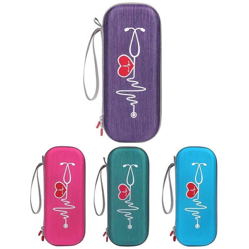 Caso de estetoscopio de almacenamiento Classic para la caja de la bolsa de protección Littmann (caja de rosa de la funda de la bolsa de rosa Protect III llevando rojo) CCFQK