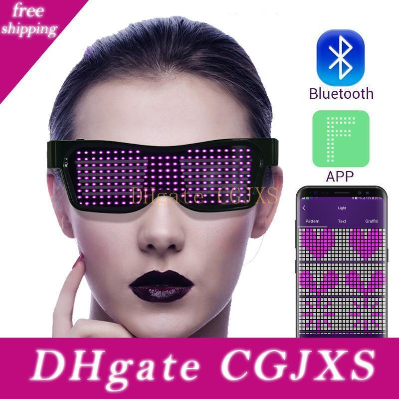 Haoxin partido dirigido Bluetooth de la magia LED Lentes Control App escudo luminoso de carga USB Lentes de bricolaje aplicación de control Multi -Lingual rápida flash LED