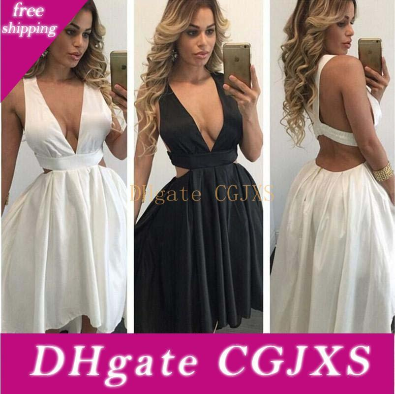 Plunging Deep V Neck Sleeveless Asymmetrical Evening Party Dresses Satin High Low Open Back Homecoming Prom Gowns 2020