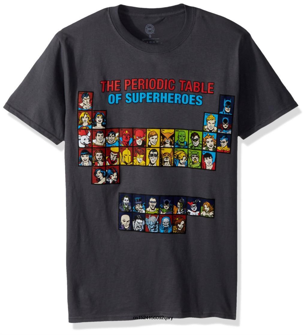 Hombres divertidos de la camiseta mujeres refrescan Camiseta Liga de la Justicia de la tabla periódica Camiseta