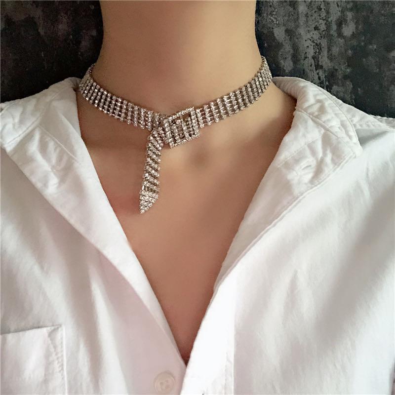 Bracelet de collier de strass à la mode Chokers pour femmes brillantes Bouton Déclaration Bijouterie cadeau de fête