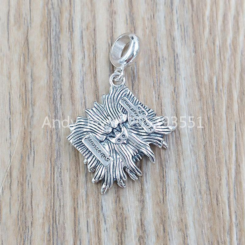 AUTENTIC 925 Pendenti in argento sterling 925 Sterling Silver Monster Book Slider Charm Adatto a Girocollo Orso europeo Regalo di gioielli WB0138-SC