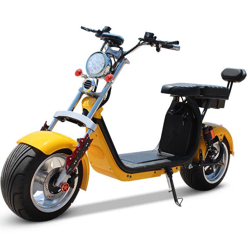 Взрослый 60V 12AH 1500w два-местной плюс спинки двойных дисковых тормоза двойной амортизация электрического Harley скутера Harley