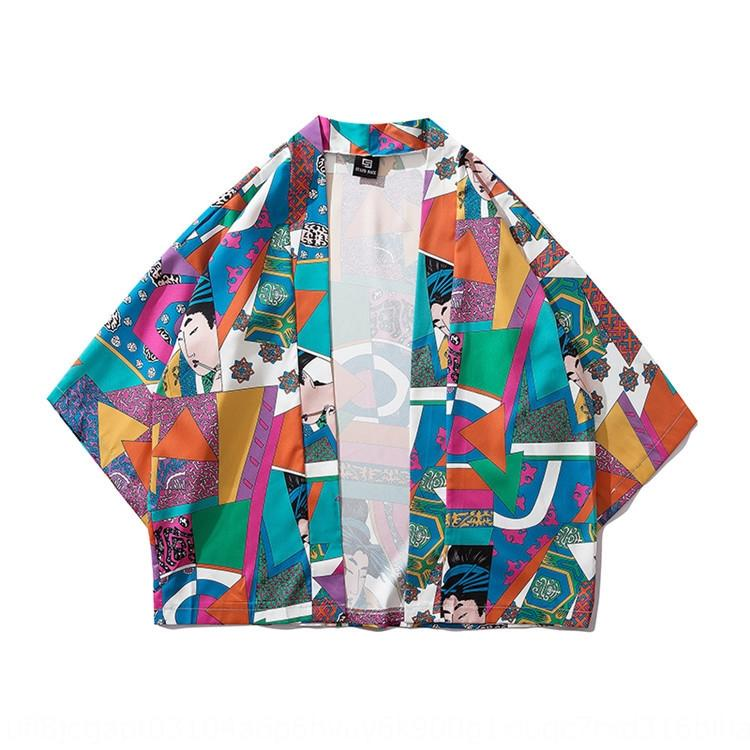 3D couleur imprimé hommes robe à carreaux et femmes couple manteau kimono Kimono cardigan à manches sept quart manteau