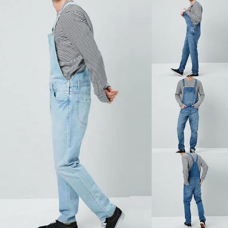Vintage Denim tulumları Erkekler Katı İnce Tek Parça Full Boy Jeans Casual Düz Kot Düğme Kayış Pant Pantalon Homme Cepler