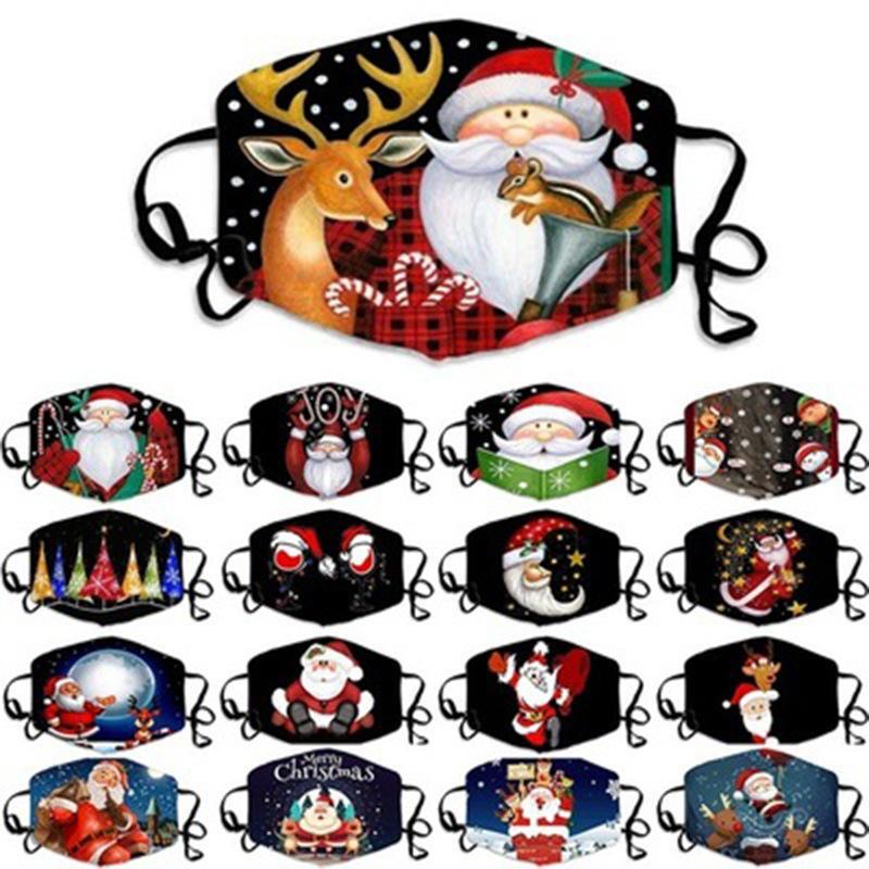 Feliz Natal máscara designer de rosto adulto do Natal do presente de Papai Noel rosto máscaras de Árvore de Natal Boneco de neve cervos máscara anti nevoeiro máscara de pó