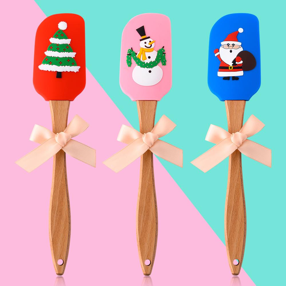 عيد الميلاد سيليكون مكشطة زبدة الغذاء الصف السيليكون الصغيرة ملعقة 3D عيد الميلاد نمط المنزل الخبز أداة مقبض خشب 25CM FFA4451