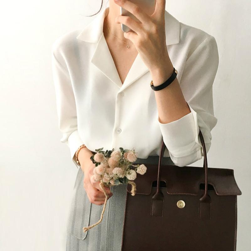 Üstleri ve bluzlar Katı Beyaz şifon Bluz Büro Gömlek blusas Mujer De Moda Uzun Kollu Bayan Gömlek Giyim A405 200924 Womens