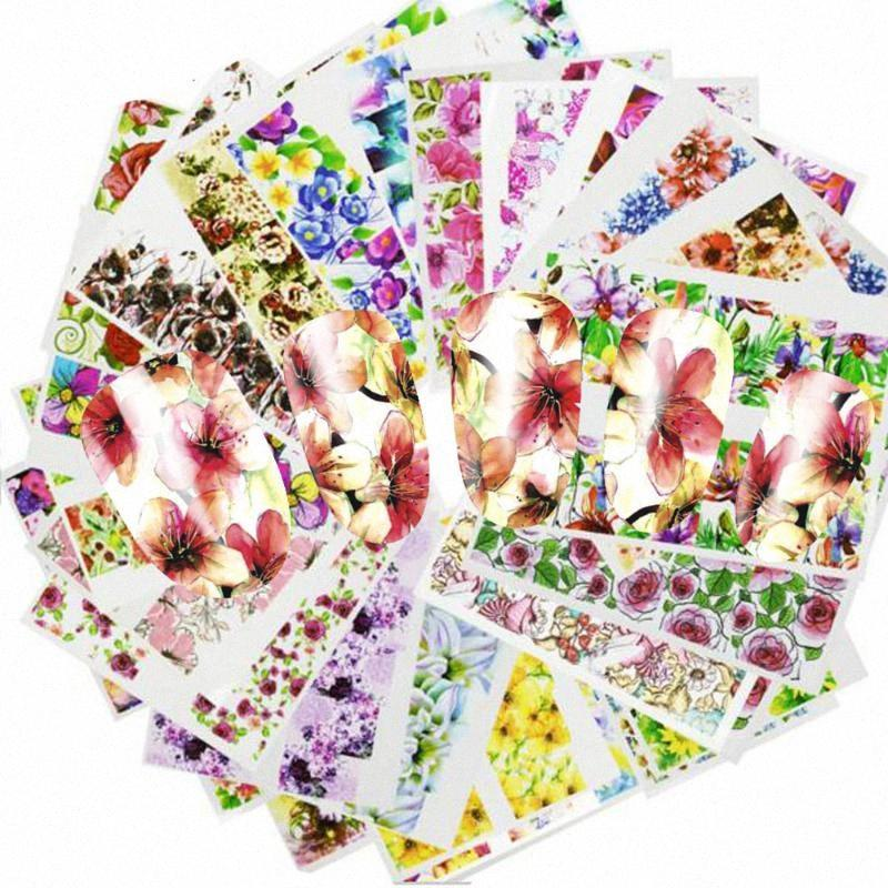 48pcs горячей воды Передача Дизайн ногтей наклейки Цветок Цветок Красочный Полный Советы Stamp Таблички Nail Art Beauty A049-096SET PJbG #