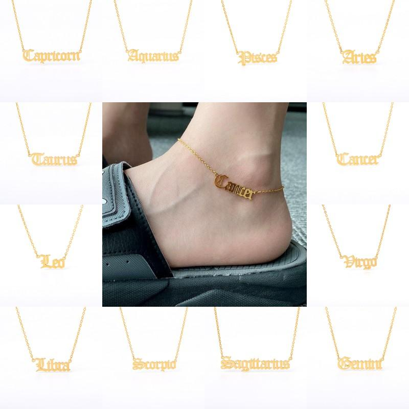DHL Shipping Constellation Necklaces Stainless Steel Personalized Letter Zodiac Necklace Old English Necklace Birthday Jewelry Gifts FWF722