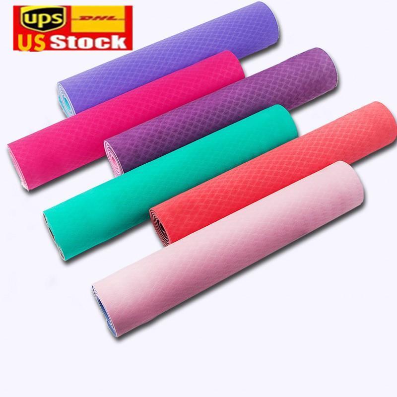 Nave da US Warehouse 6mm spessore schiuma yoga tappetino TPE High Elastic fitness esercizio palestra allenamento attrezzature domestiche ginnastica formazione pad fy6146