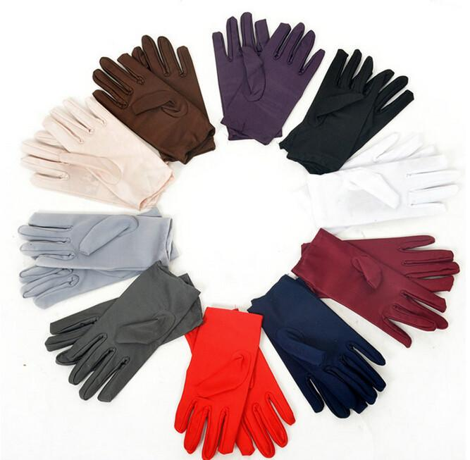 New Wholesale-New 2017 9 Colors Evening Party Wedding Formal Prom Stretch Satin Gloves for Women