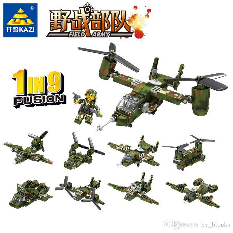 8en1 tropas de combate militares de combate del Ejército tanque blindado de coches Building Blocks Establece ladrillos DIY modelo de helicóptero Educación Niños Juguetes 03