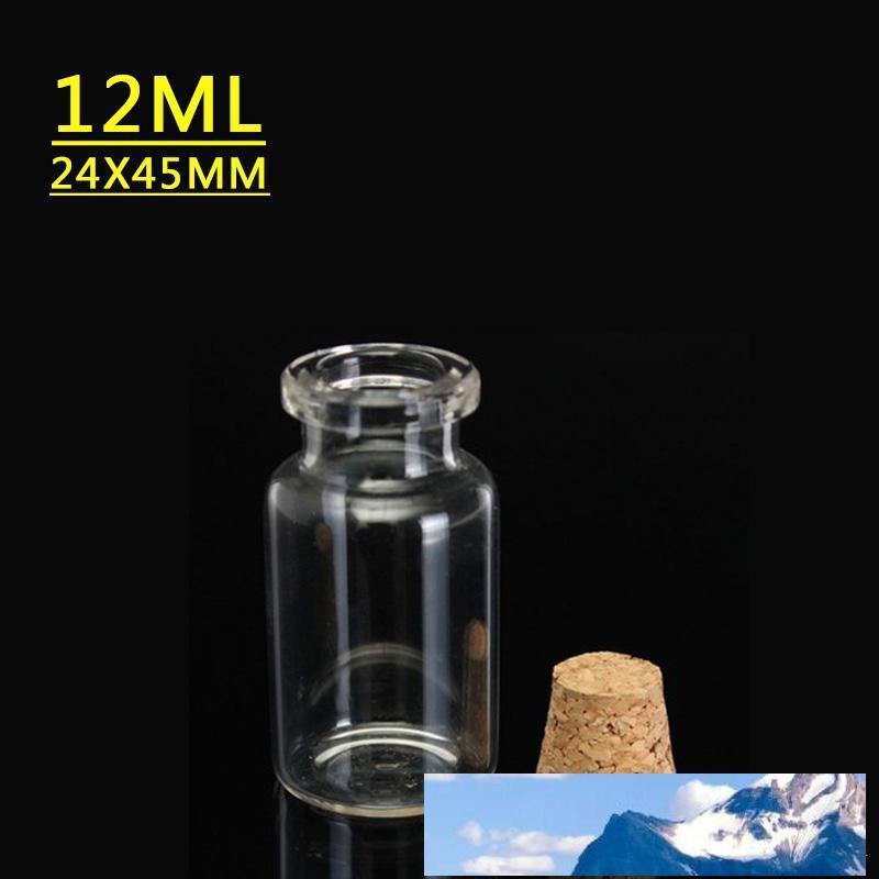 45x24x12.5MM 12ML Petit Mignon Mini Bouchonnières Bouteilles en verre Fioles Pots Petits contenants Souhaitant Bouteille en verre Artisanat