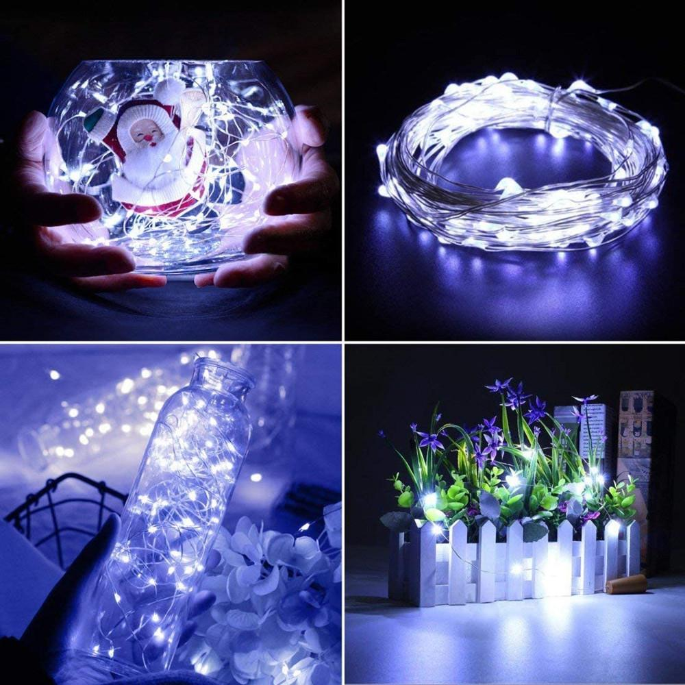 100pcs 2M Led Cordas Luzes pilhas Sliver fada fio guirlanda luz ao ar livre Luzes de Natal Cadeia casamento Patry Decor