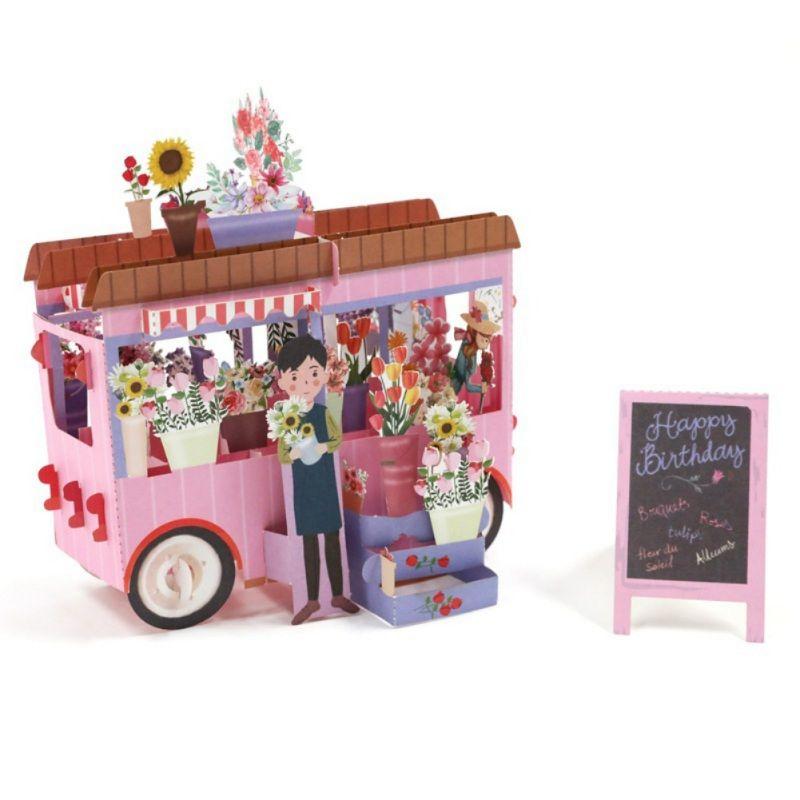 Cartes 3D Fleur voiture carte de voeux créative main évidé papier de Noël pour Cadeau de Noël