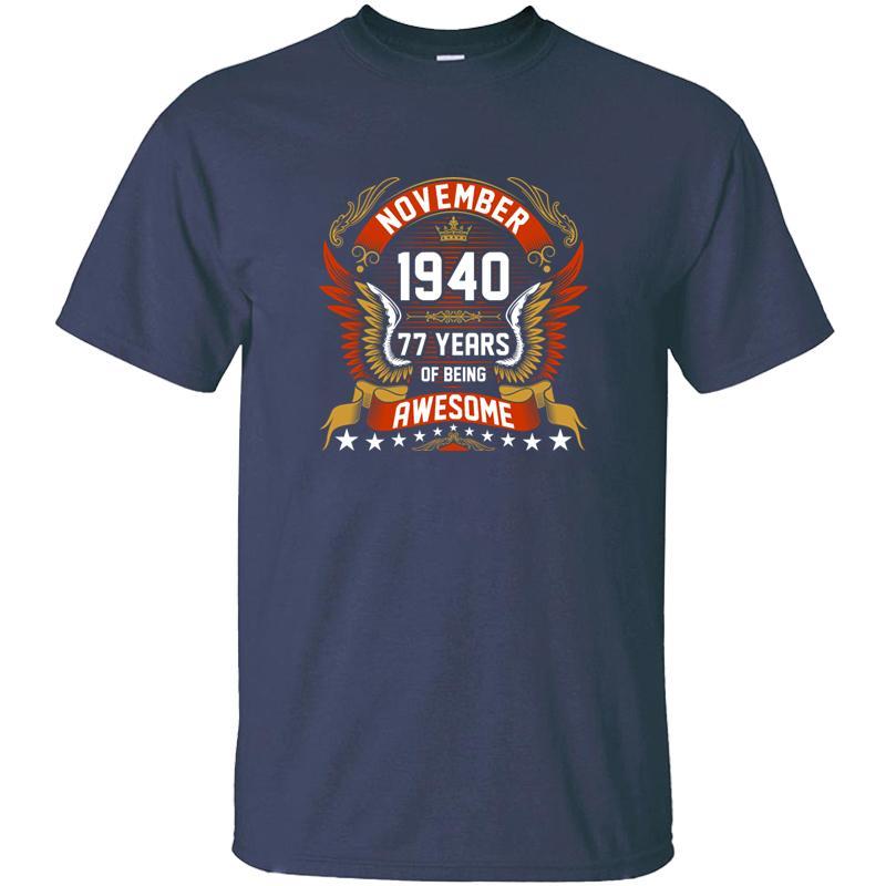 Vintage Kasım 1940 Mens O-Boyun Giyim Tişörtler 2020 Plus Size S-5XL Camisetas için olmak Müthiş T Gömlek Of 77 yaşında
