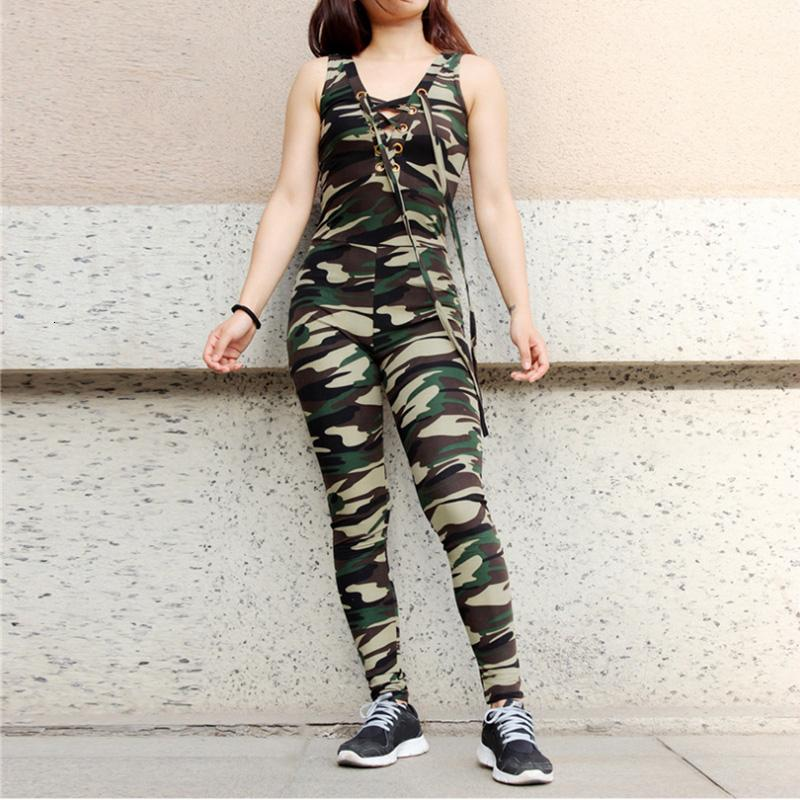 Yoga Outfits 2021 Camouflag Women's Jumpsuit Fitness Tight Outdoor Workout Running Set Leisure Sports Suit Quick Dry Tracksuit For Women