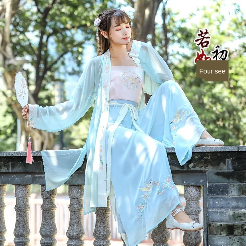 Longo Juanzi CROSSBODY melhorados antiga vestuário bordados diária canção calças roupas de dança quadrado das mulheres antigo traje TikTok chineses novo
