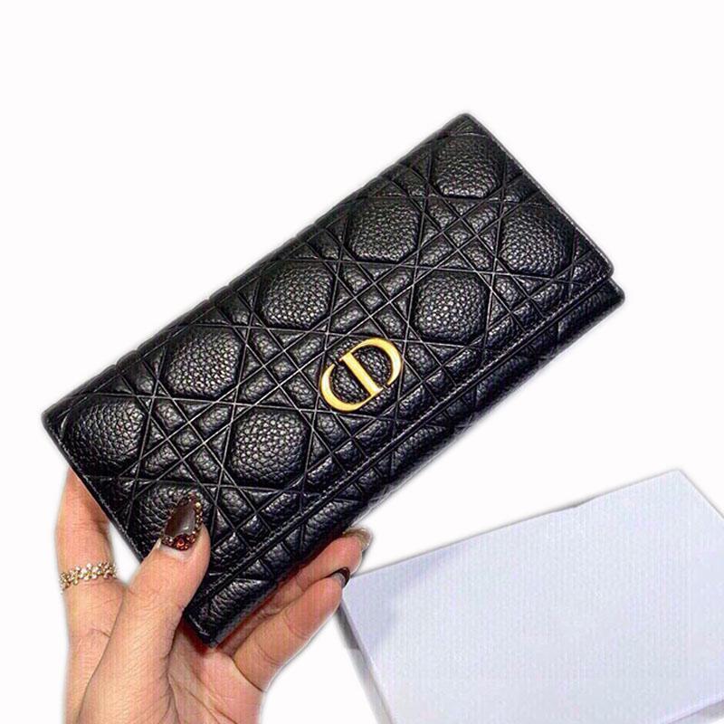 상자 19 * 10cm와 여성 패션 클러치 백 지갑 핸드백 지갑 상단 가죽 고전적인 스타일 순수한 검은 캐비닛이 풍부한 두 가지 선택