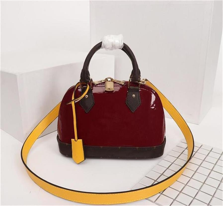 Original de alta qualidade Designer sacos bolsas ALMA BB couro Bag Mulheres Marca Patent Tote Toron ombro Shell saco de couro real Bags