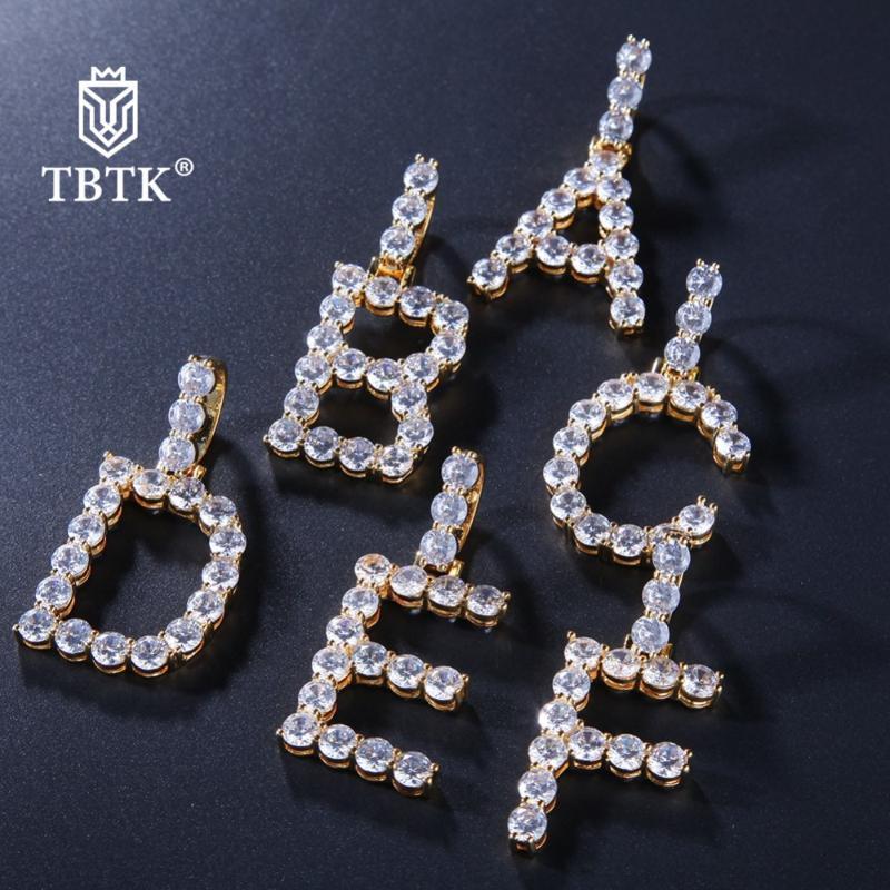 TBTK A-Z 26 Алфавит Скидка Красивых буквицы Кулона Асфальтовых Полный CZ украшение ожерелье золото Веревка цепь подарки