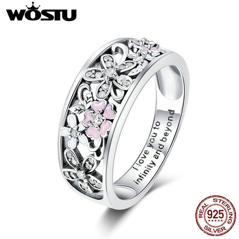 WOSTU Real 925 Sterling Silver Sparkling Stackable Flower 4mm Finger Rings For Women Silver Jewelry Party Wedding Gift CQR390 LJ200831