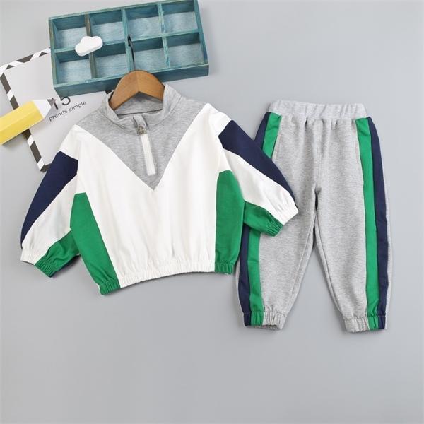 Pantalones de ropa de bebé de la camiseta de los niños V + algodón con la ropa del otoño de faja lateral de los niños determinados del muchacho del niño sistema del resorte 0926