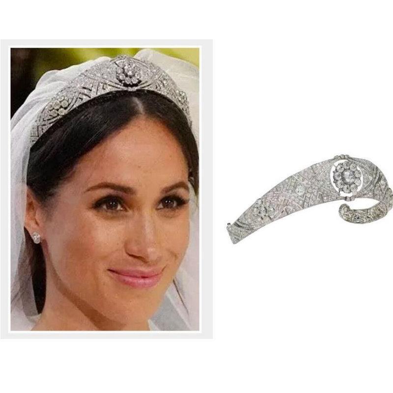 Lüks Avusturya Rhinestone Meghan Prenses Taç Kristal Gelin Tiaras Taç Diadem İçin Kadınlar Düğün Saç Aksesuarları Takı Y200807