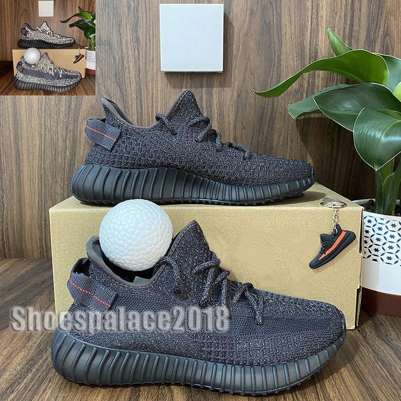 2020 Zapatos Top hombre de la calidad de running Mujer Runner Sports zapatillas de deporte de Kanye West crema blanca cebra Abez Eliada Triple Negro Oreo V2 Box Doble