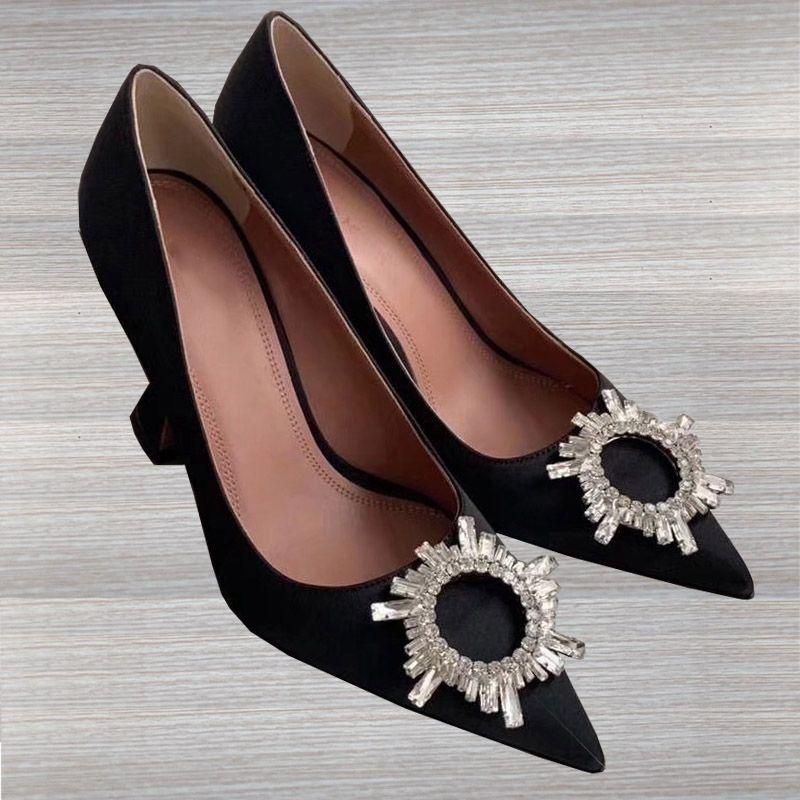 Tasarımcı Moda Bayan Elbise Sivri Ayak parmakları ayakkabı Yüksek Topuklar Espadrilles Kristal Yüksek Kaliteli Gerçek Deri Katı Renk Bayan Ayakkabıları