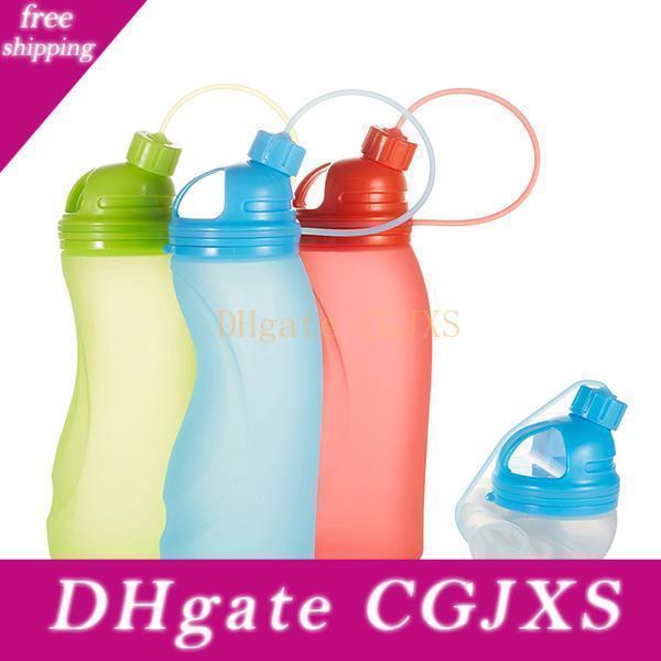 Nouvelle boisson portable silicone bouteille d'eau de Pliable Pliable Bouteilles Bpa Gratuit pour les sports de plein air Voyage en gros