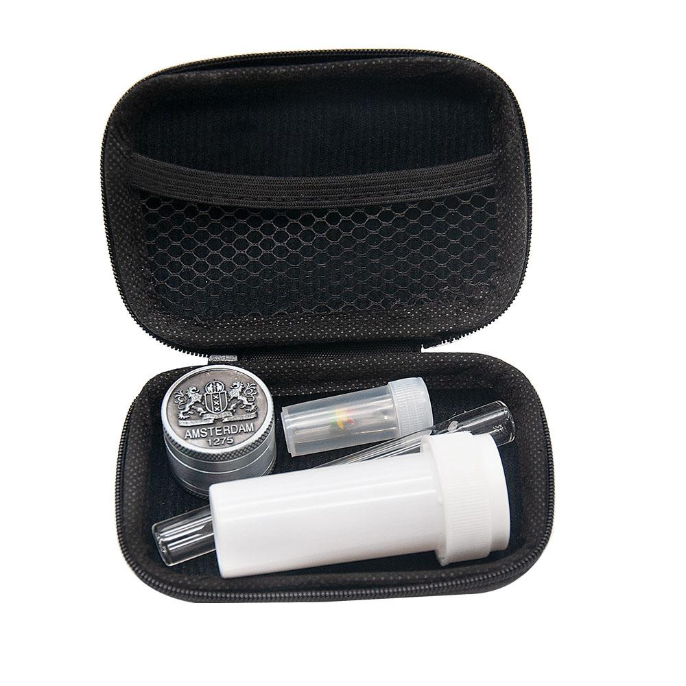 Tabakbeutel Set Glas Pfeife Kit Combo Glas One Hitter Acryl Jar Filter Mouth Tip Mini Grinder Rauchen Bag Set