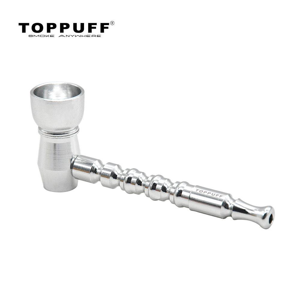 Tubulação de fumo de metal de alumínio de toppuff com grande tigela de metal 78mm portátil tubulações de tabaco quatro cores diferentes