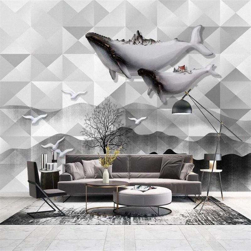 Personalizzato Wallpaper Murale 3D Nordic Whale geometrico astratto grafica Soggiorno Camera da letto sfondo per il desktop personalizzati murale Carta da parati Desi APVf #