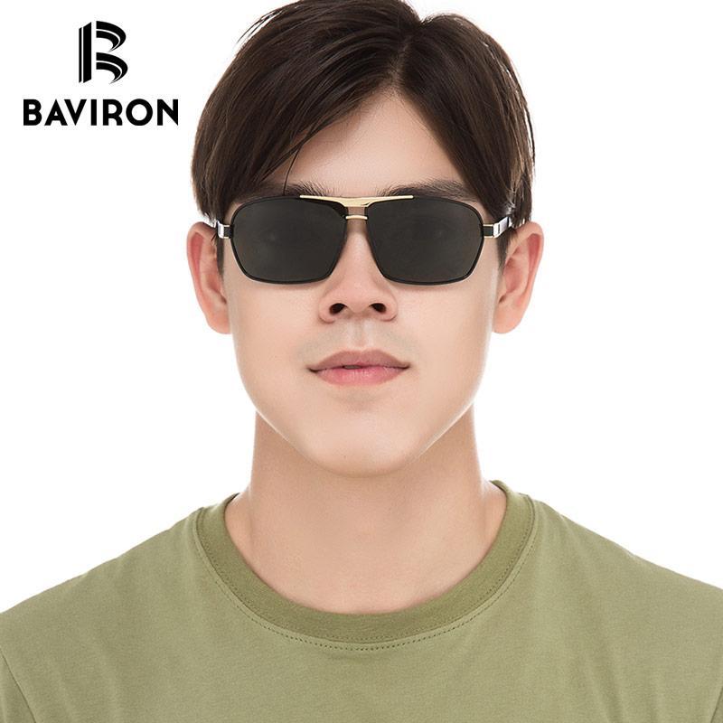 2020 Lunettes de soleil classiques carrées pour lunettes populaires Film bleu BAVIRON HOMMES NOUVEAU GOLD RIM Lentilles Élégantes Verre polarisée CLLSI