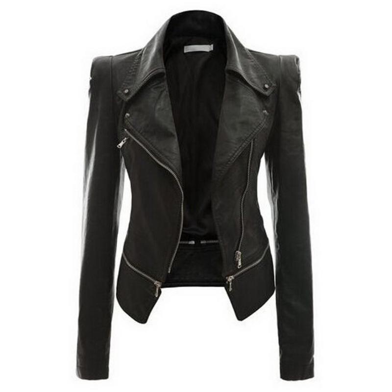 das mulheres PU Leather Jacket vôo de abertura de cama colarinho do casaco curto Zipper Up motociclista Casual Tops Outfit Ladies motocicleta Casacos