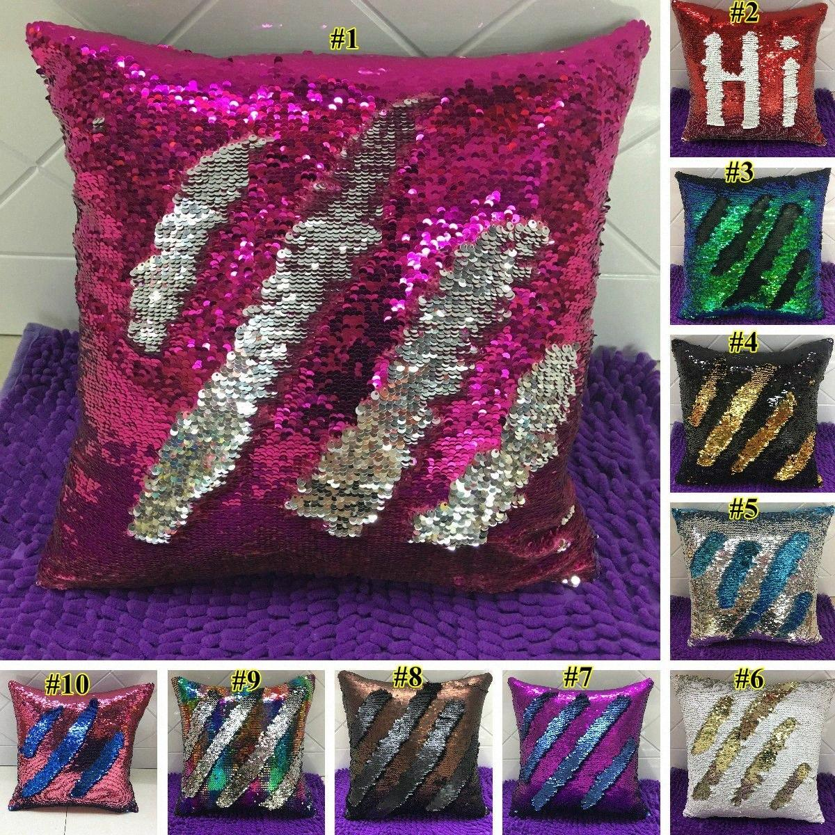 Cubiertas doble lentejuelas almohada Funda de almohada plaza cubierta Glamour Caso Cojín Inicio del coche del sofá decoración sirena almohada sin alma GWE721 MHwE #