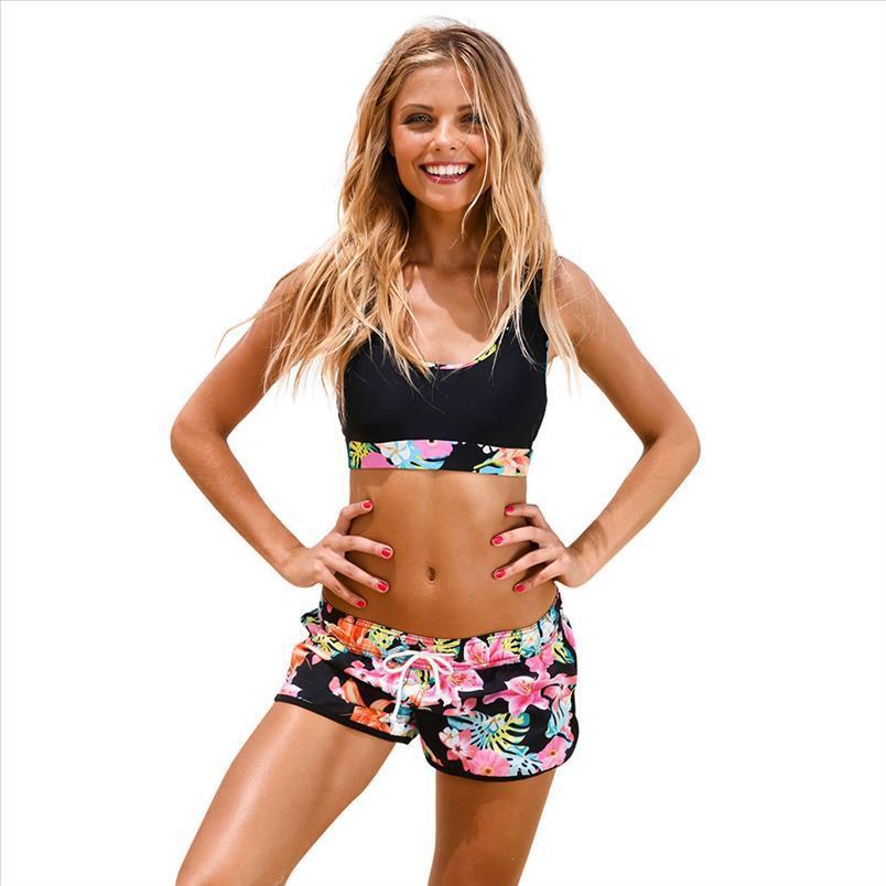Sommer-Badeanzug Tankinis Frauen Push Up Padded brasilianischen Bikini-gesetzte Badebekleidung Badeanzug-Blumendruck Mädchen Bademode BL3