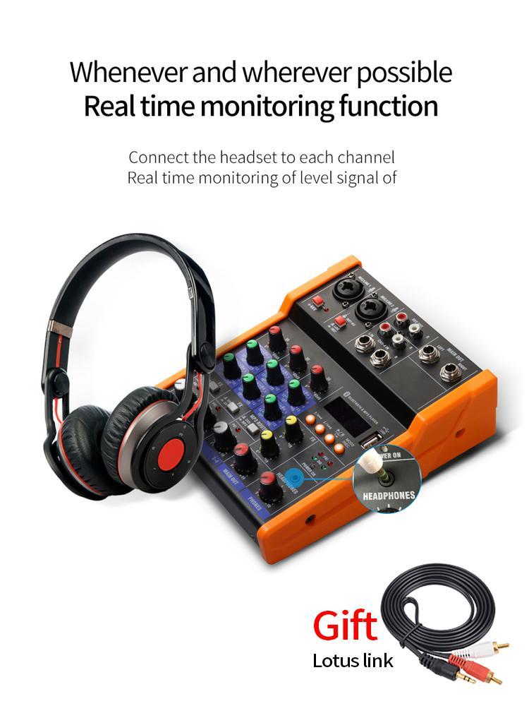 Freeshipping Audio Mixer UHF Microfono Bluetooth Audio Mixer USB DJ Sound Mixing Console 4 canali 48V Phantom Power