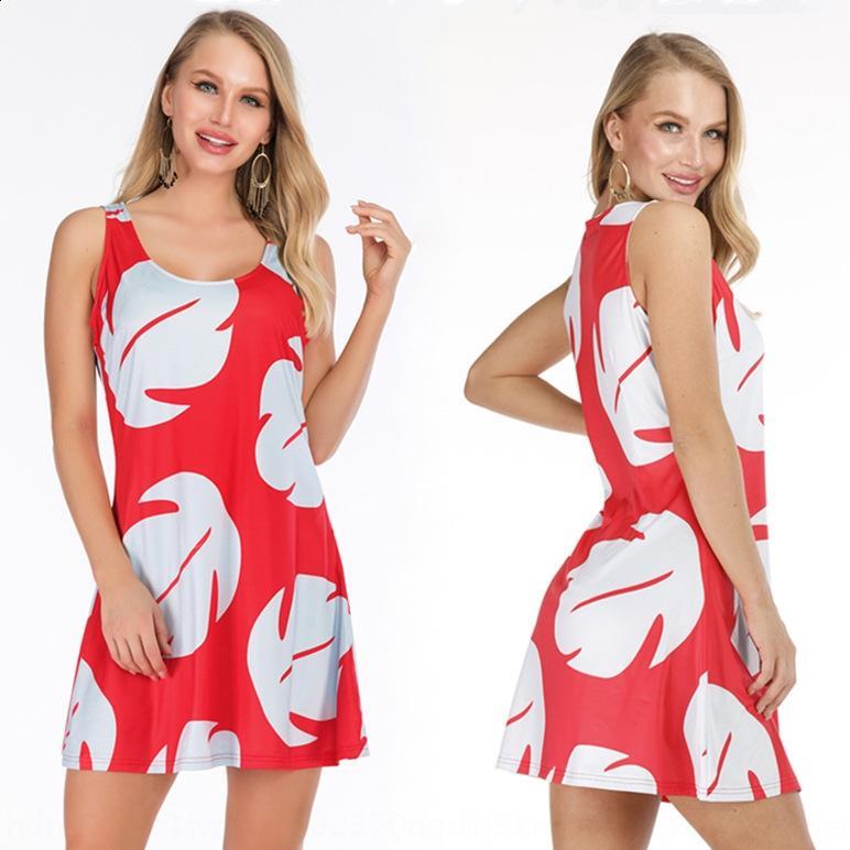 179O7 Yaz yeni kadın yuvarlak boyun kısa kollu A- hattını oluşturmak 8850 Yaz yeni kadın yuvarlak boyun basılı kısa kollu A- çizgi Elbise Dre baskılı