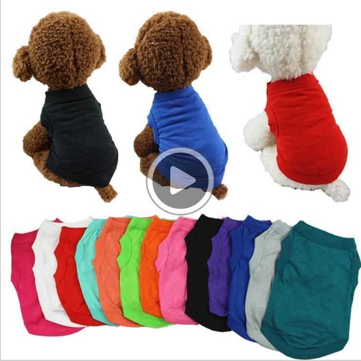 Ropa para mascotas Moda Pure Color Top del chaleco de la ropa de algodón del color del caramelo del chaleco del perro Perros Ropa WY320 Michelle EULB