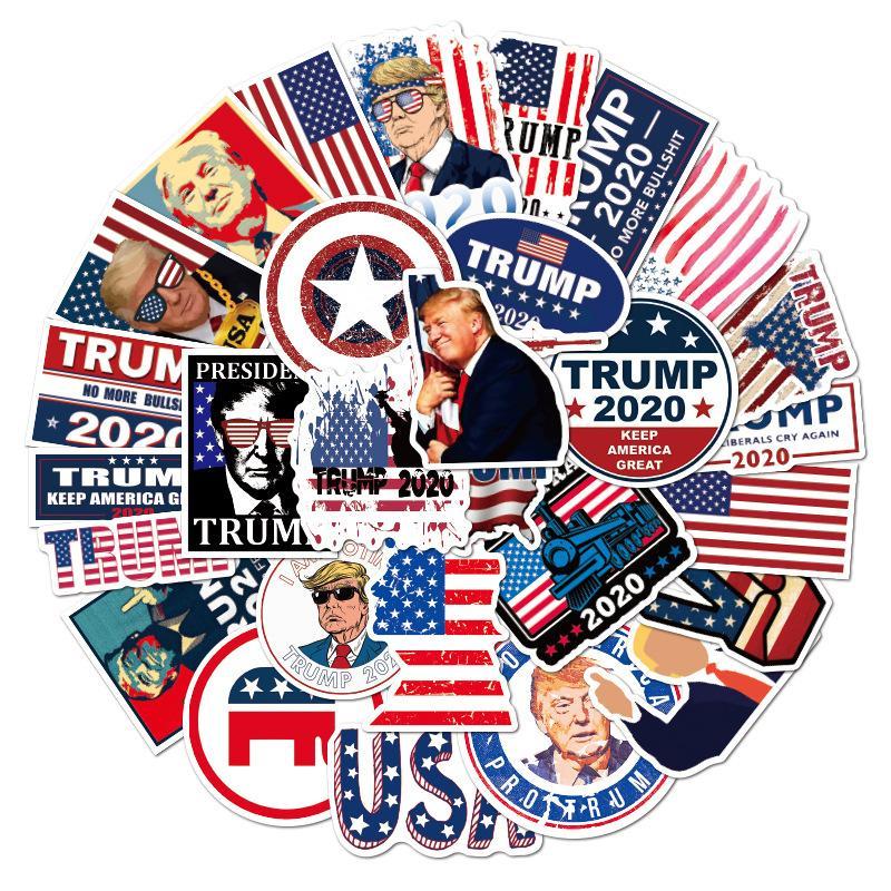 50PCS أمريكا الرئيس ملصقات العلم الكتابة على الجدران ملصقات ترامب مضحك ملصقات للماء الكرتون ملصق محمول دراجة الشارات